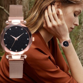 Luxury Women Watches Rose Gold Mesh LadiesClock Magnet Buckle Starry Diamond Geometric Surface Casual Dress Quartz Wristwatch