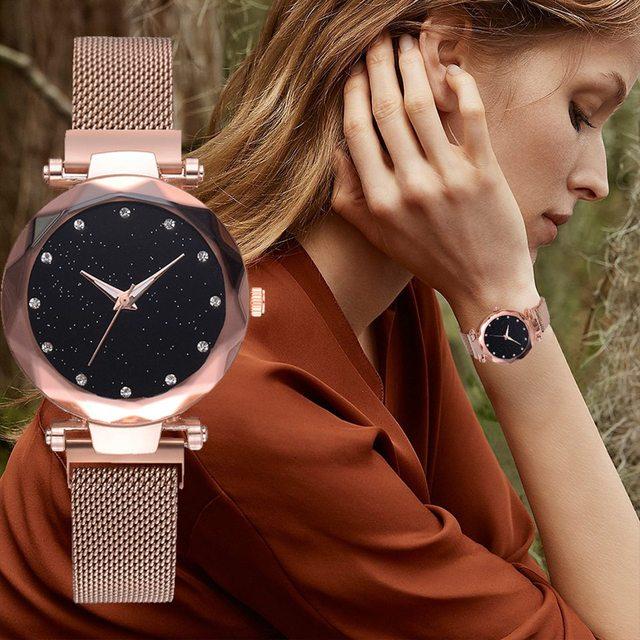 Luxury Women Watches Rose Gold Mesh LadiesClock Magnet Buckle Starry Diamond Geometric Surface Casual Dress Quartz Wristwatch