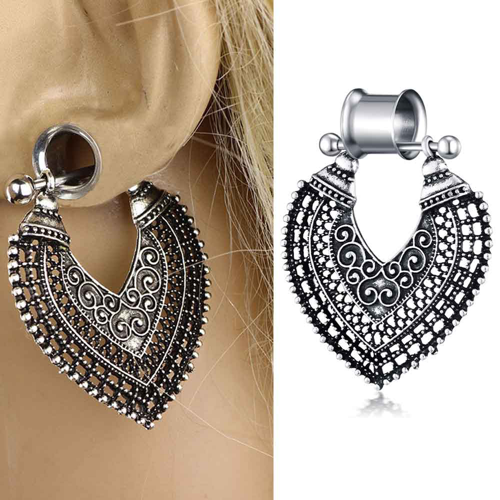 US $1 07 11% OFF|JUNLOWPY 2pcs Stainless Woman Danlge Ear Gauge Plug  Earring Screw Big Circle Tunnel Plug Expander Kit Body Piercing Stretcher  -in