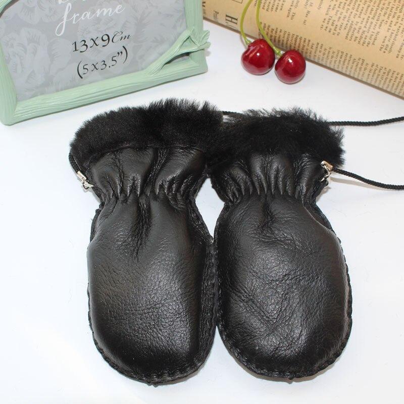 High-quality Kid's Gloves Fur Leather Gloves Sheepskin Fur Mitts Child Fur  Mitts Winter Warm Gloves Children/girls/boys Gloves