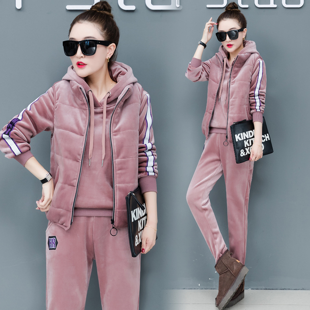 6adf844390f YICIYA Pink Women Tracksuit velvet Cashmere 2 Winter 3 Piece Set Hoodies  Vest Pants suits plus size outfits thick warm clothing