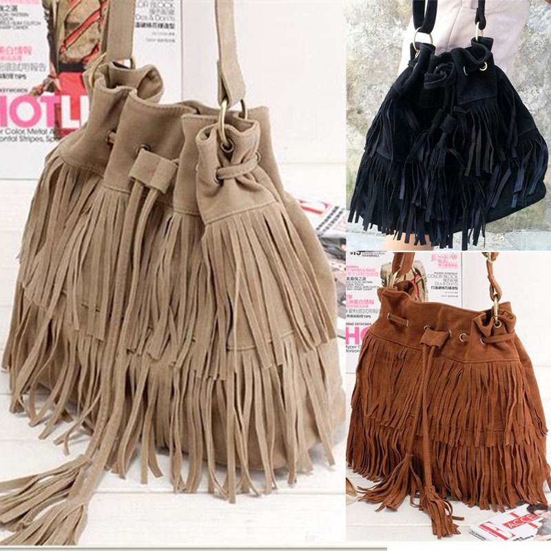 ... Shoulder Crossbody  finest selection 42243 49d8e 2018 NEW Suede Drawstring  Bucket Bag Women Handbag Faux Fringe Tassel Shoulder ... 27393992aa