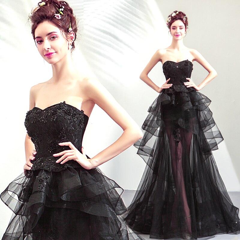 Платье для свадьбы, черное, со шлейфом, спереди, с коротким и длинным, сзади, 54