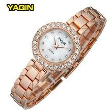 YAQIN Marca Relogio Feminino CZ Crystal Rhinestone de Lujo de Oro Rosa de Señora Reloj Relojes Broche de Pulsera de Cuarzo de Moda Reloj de Las Mujeres