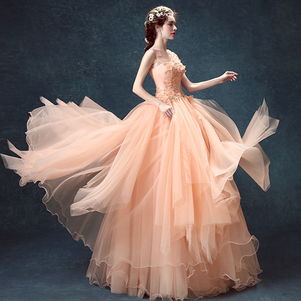 Online Shop 100% real luxury salmon pink beading flower long ...