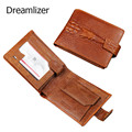 Vintage Crocodile Genuine Leather Men Wallet Brown and Black Coin Pocket Male Purse Hasp 3 Fold Male Card Holder Wallet