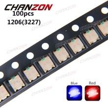 100pcs SMD 1206 3227 Bicolor Blue And Red SMT Chip 20mA DC 2V Light Emitting Diode