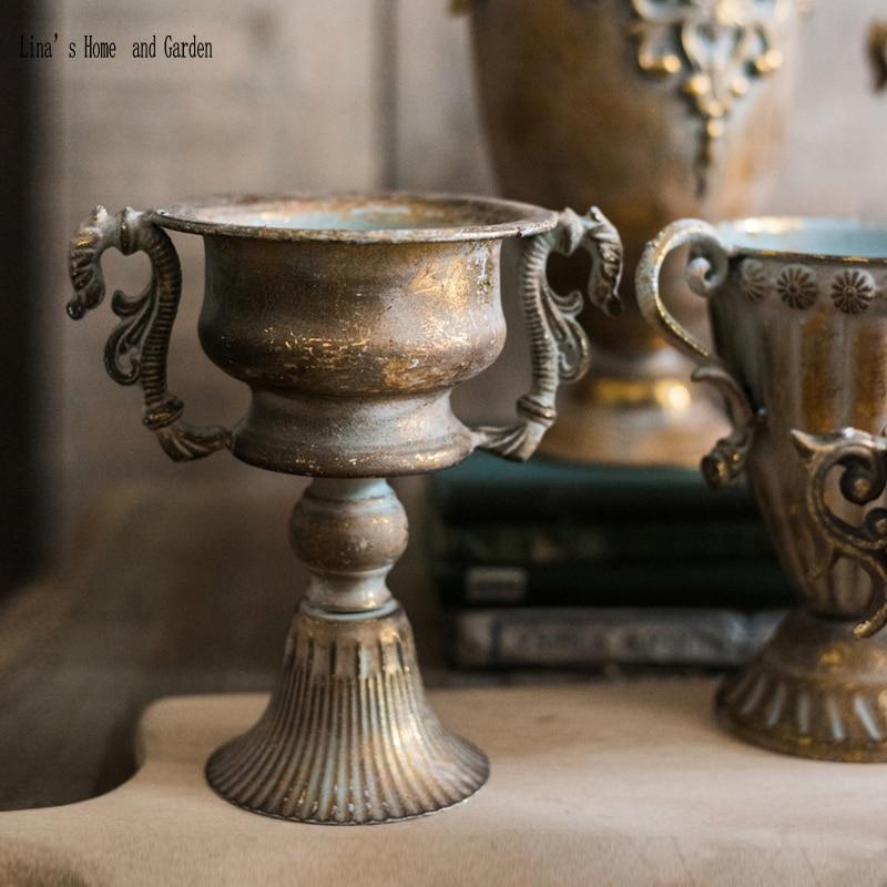 small hand made classic ditressed retro gold flower vase pedestal