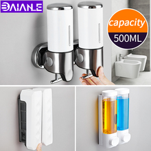 Liquid Soap Dispenser Wall Mounted 500ml Shower Gel Shampoo Detergent Dispensers Hotel Bathroom Kitchen Double Hand Soap Bottle 500ml 2 wall mounted hand pressing double soap dispenser hotel bathroom abs plastic liquid soap dispenser
