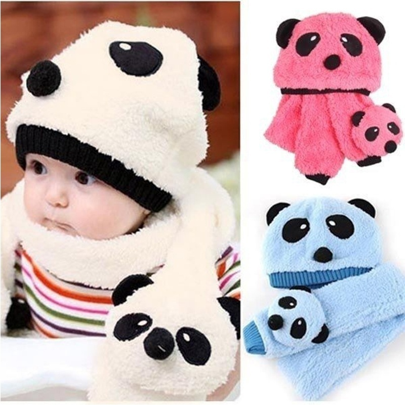 High Quality 1 Set Kid's Warm Winter Comfort Hat Panda Caps + Scarf Suit Set Cute Boy's Girl's Clothing Accessories