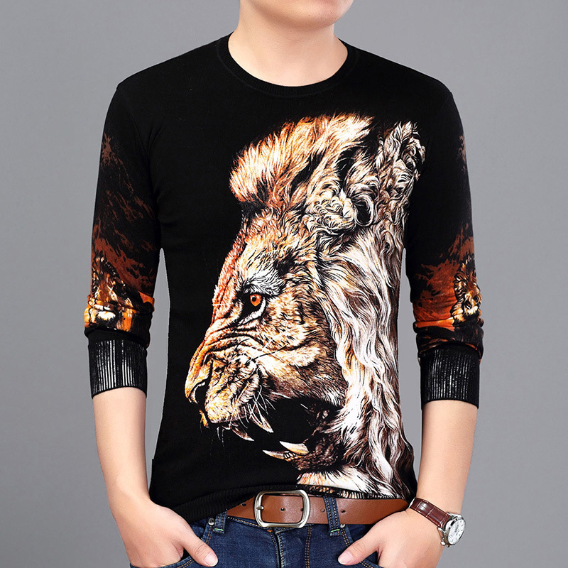 Chinese Style 3D Lion Pattern Digital Printing Pullover Sweater Autumn 2018 New Quality Cotton Soft Comfortable Sweater MenM-3XL