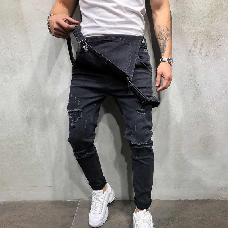 Heflashor Pria Lubang Tertekan Denim Jeans Hip Hop Robek Celana Kodok Pria Tinggi Kualitas Suspender Koboi Celana Streetwear Hitam