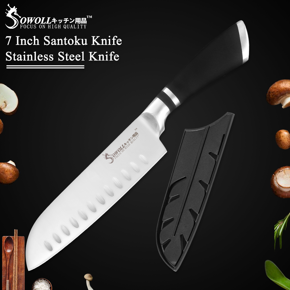 SOWOLL Kitchen Knife Chef Non-Stick Japanese-Style Santoku Stainless-Steel Brand 7-Good-Quality