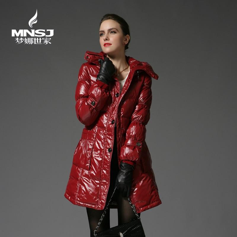 2013 Winter Genuine New Slim Long Thick Down Jacket Women Thick Warm Hooded Down Coat Long Zipper Slim Winter Down Coat H1024