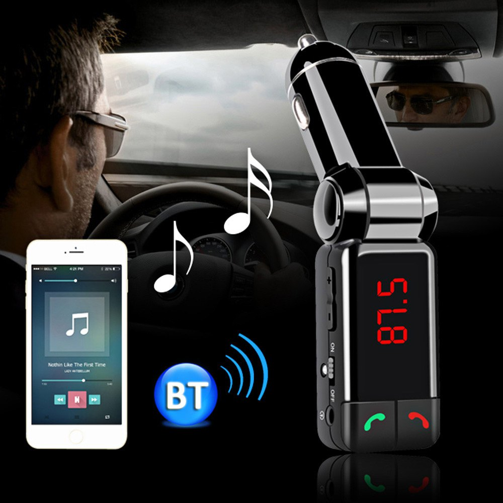 Bluetooth 2 0 car kit mp3 player wireless fm transmitter aux in audio connect lcd display