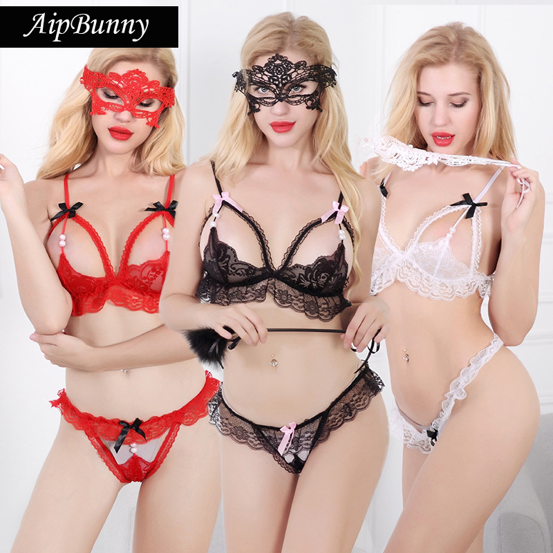 Buy AipBunny Open Crotch Lingerie set Sexy Hot Erotic Women Sexy Bra Panty Lace Bow-Knot Open Bra+G-String Three-Points Underwear