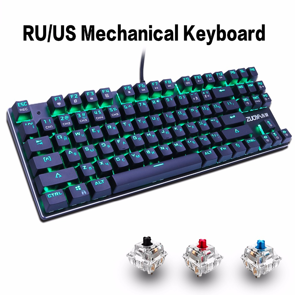 Gaming Mechanical Keyboard 87key Anti-ghosting Sininen Punainen Switch Taustavalaistu näppäimistö LED USB Langallinen näppäimistö Pelikannettavaan