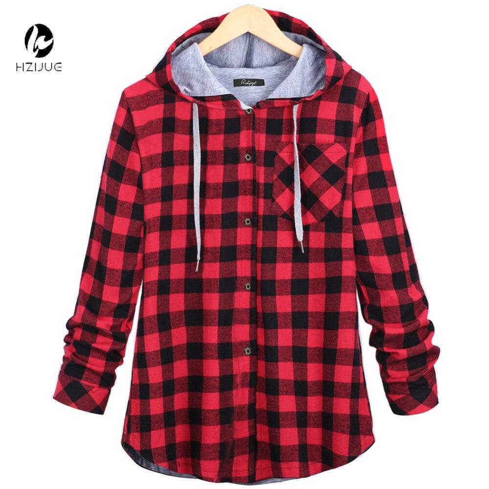 HZIJUE Women Casual Red Plaid Shirt Hooded Long Sleeve England Shirt Tops  Men Harajuku Black Checkered Blouse Couple Clothes - Plaid Shirt Women Promotion-Shop For Promotional Plaid Shirt Women