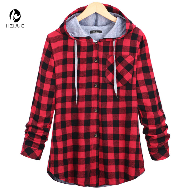 HZIJUE Women Casual Red Plaid Shirt Hooded Long Sleeve England ...