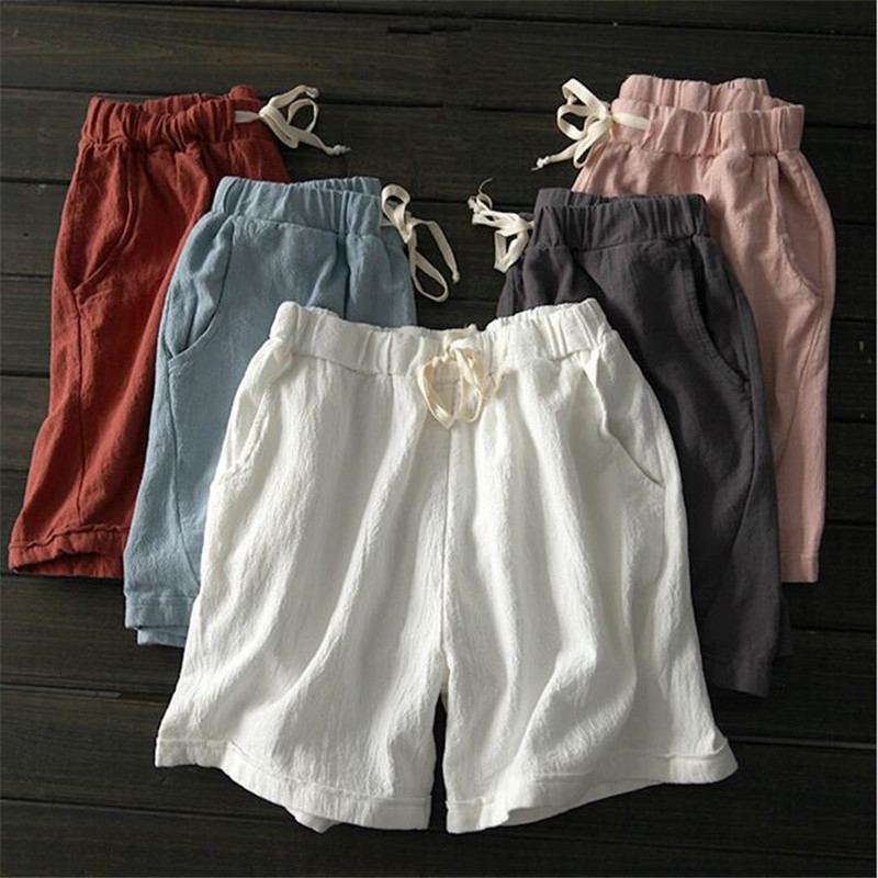 2019 Loose solid cotton linen feminino women   shorts   New Summer   shorts   women Elastic high waist   short   M-6XL 7XL White Jujube Red