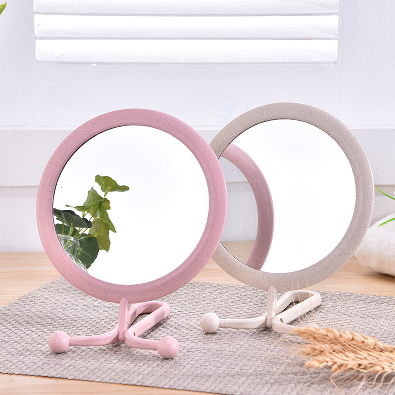 TI72 Wheat straw material makeup mirror folding hanging double sided mirror HD desktop beauty products