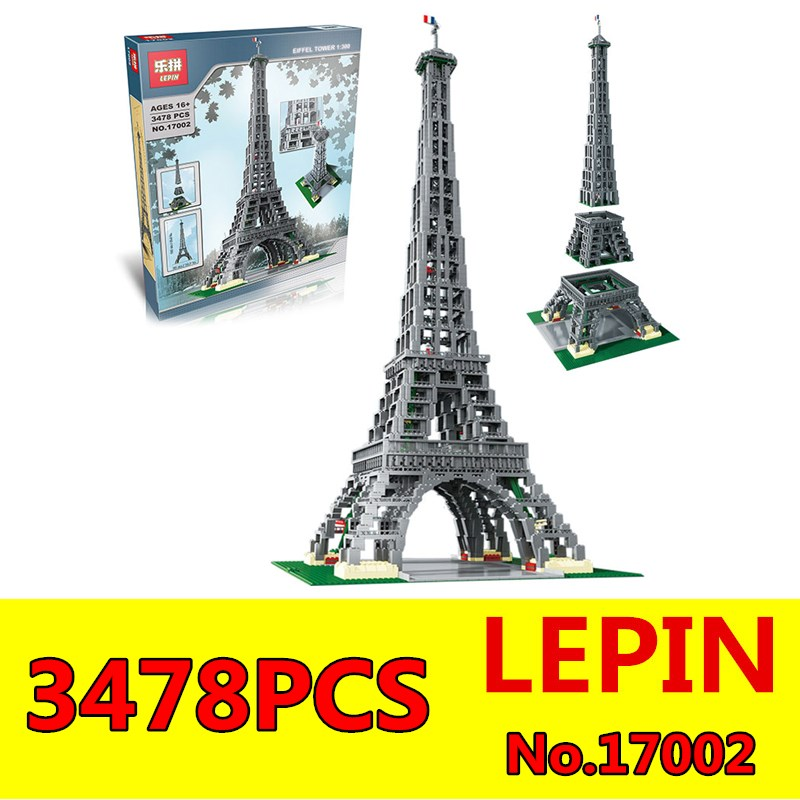 Paris Eiffel Tower Model LEPIN 17002 3478Pcs Educational Building Kit Blocks Bricks Toys Compatible for Children 10181 Kit Gift lepin 02012 city deepwater exploration vessel 60095 building blocks policeman toys children compatible with lego gift kid sets