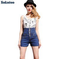 Women S Extra High Waist Buttons Large Size Shorts Casual Slim Skinny Stretch Denim Jeans