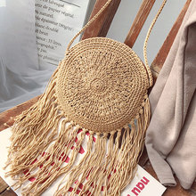 Bohemian Women Straw Bags Tassel Messenger Handbag Crossbody Bag Summer Travel Beach