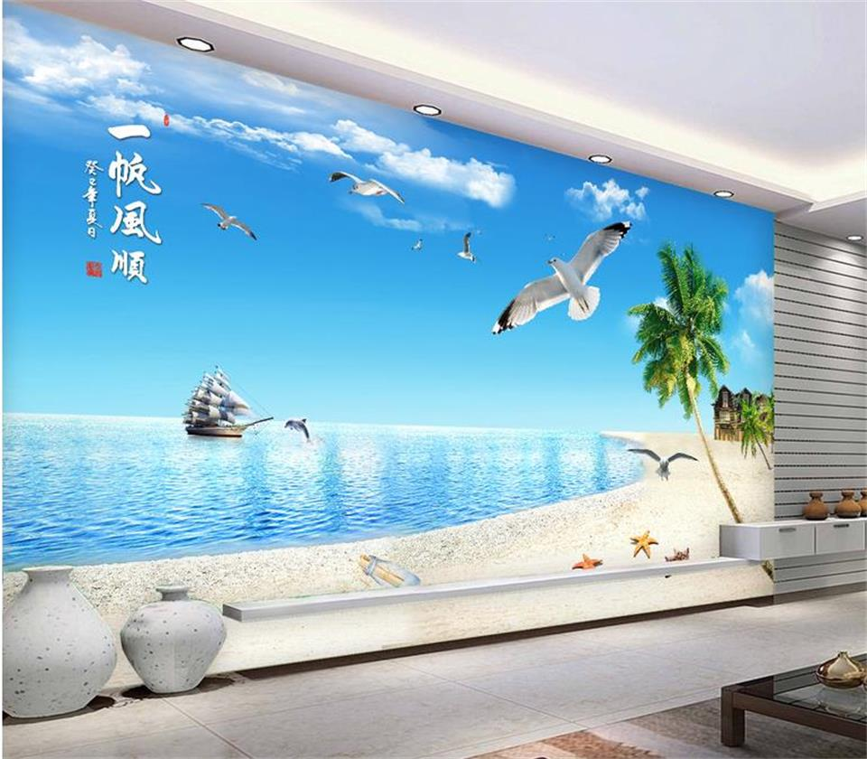 3d photo wallpaper custom living room mural beach ship landscape painting sofa TV background wall sticker wallpaper for wall 3d custom 3d stereoscopic large mural wallpaper wall paper living room tv backdrop of chinese landscape painting style classic
