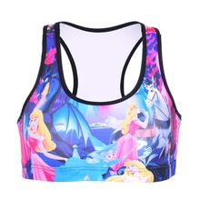 NEW 0088 Summer Sexy Girl Women comics Snow White 3D Prints Padded Push Up Gym Vest Top Chest Running Sport Yoga Bras