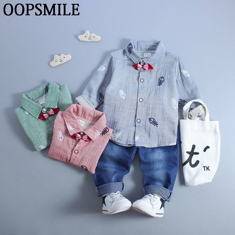 Baby Boys Clothes Casual Cartoon Long Sleeve Top+Jeans 2pcs Suit Baby Boys Clothing Set Newborn Infant Clothing roupas de bebe newborn infant baby girls boys spring short sleeves cotton clothes suit 2 pcs baby unisex cartoon casual strapped clothing set