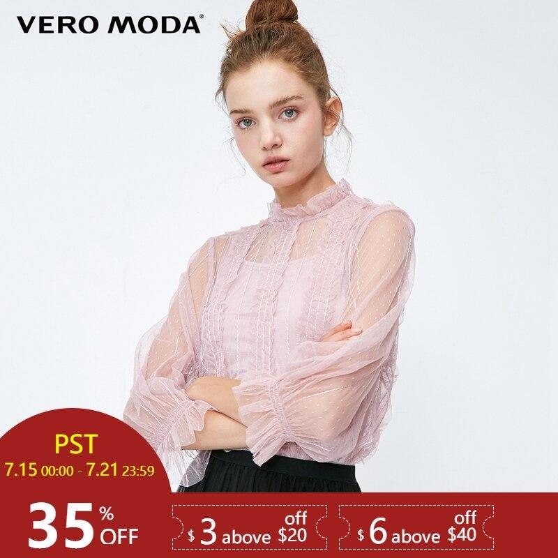 Vero moda 2019 Nova Paillette O Pescoço 3/4 Mangas Malha Gauzy Tops   318330519
