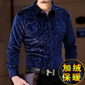 Chinese style dragon printing gold velvet high-end long sleeve shirt 2016 Autumn&Winter fashion casual quality men shirt S-XXXL