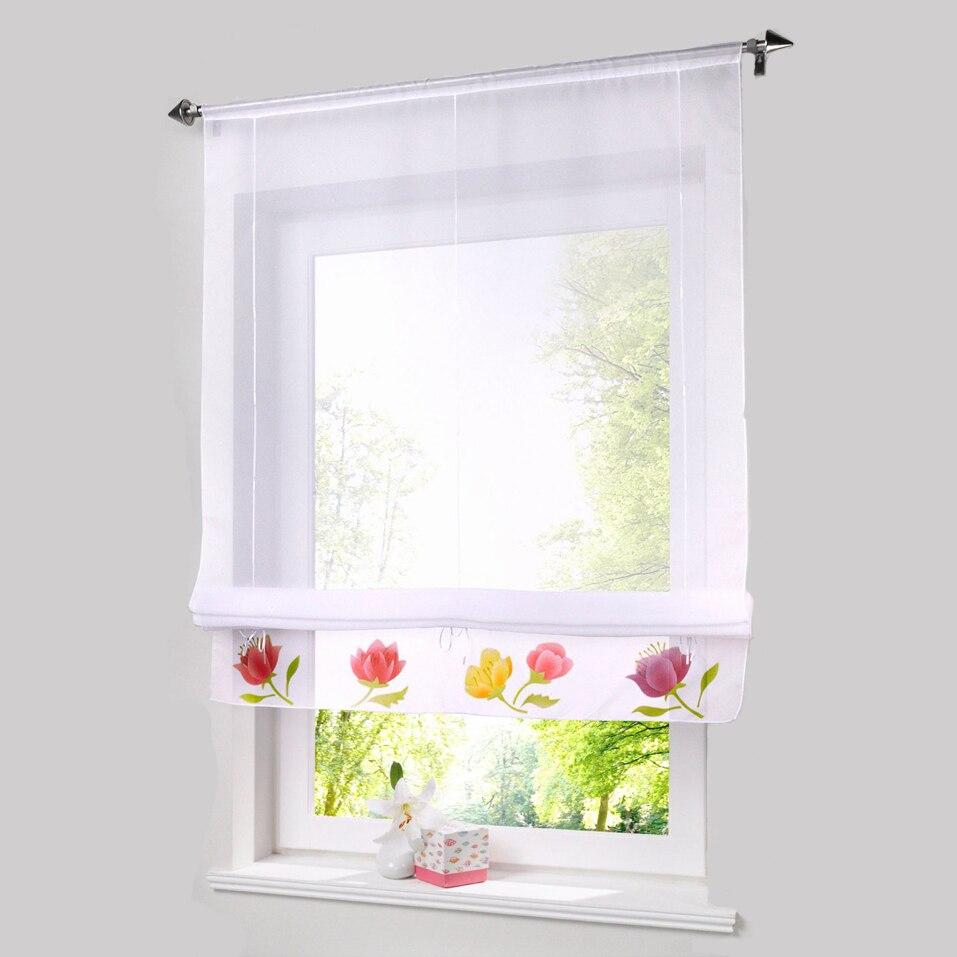 Sheer window curtains kitchen - Roman Shade Lotuseuropean Handmade Spraying Style Tie Up Window Curtain Kitchen Curtain Semi Sheer Window Curtain