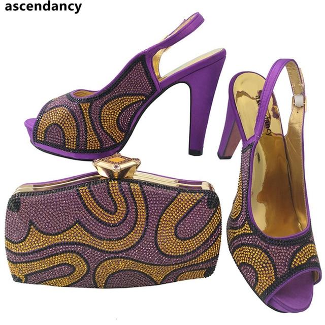Lila Farbe Kristall Stein Nigerianischen Schuhe Passender Tasche  Italienische Schuhe und Taschen Set Strass Hochzeit Schuhe 350cb8f504