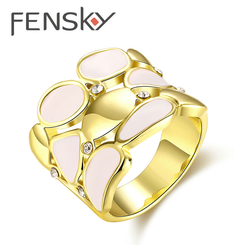 fensky hot sale western style women elegant rose gold color zircon wide party rings for mother - Western Style Wedding Rings