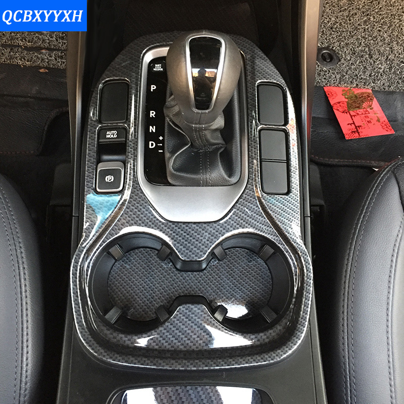 Car Styling Interior Carbon Black Gear Box Cup Holder Protection Cover For HYUNDAI Grand Santa Fe IX45 2014-2017 Accessories