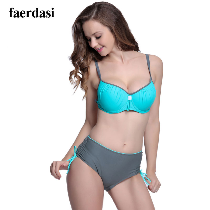 2017 bikini set 2 colors mid waist back clip women swimming suit bathing suits bordered breathable quick drying sunshine beach