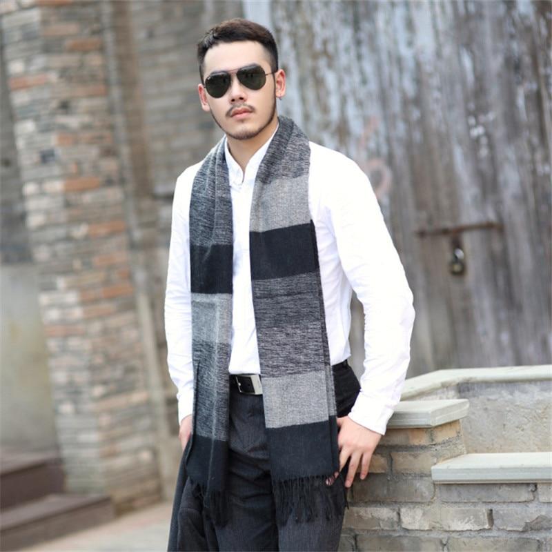 2016 New Fashion Pashmina font b tartan b font Scarves men winter Plaid Scarf for Men