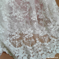 Buulqo White Lace Fabric 1 25 Meter Wide High Quality French Embroidery Lace Trim Tulle Fabric