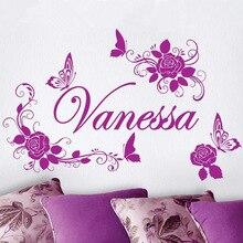 Envío Libre Casero de La Decoración Personalizada Personalizada Nombre de la Flor Y de La Mariposa Belleza Etiqueta de La Pared Niñas Dormitorio Decoración Arte Y-664