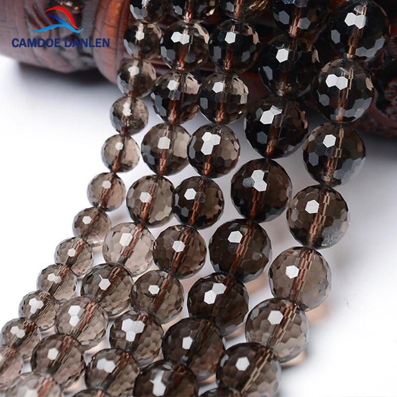 "4-18mm Faceted Smoky Brown Quartz Tea Round For Bracelet DIY Loose Beads 15/"""
