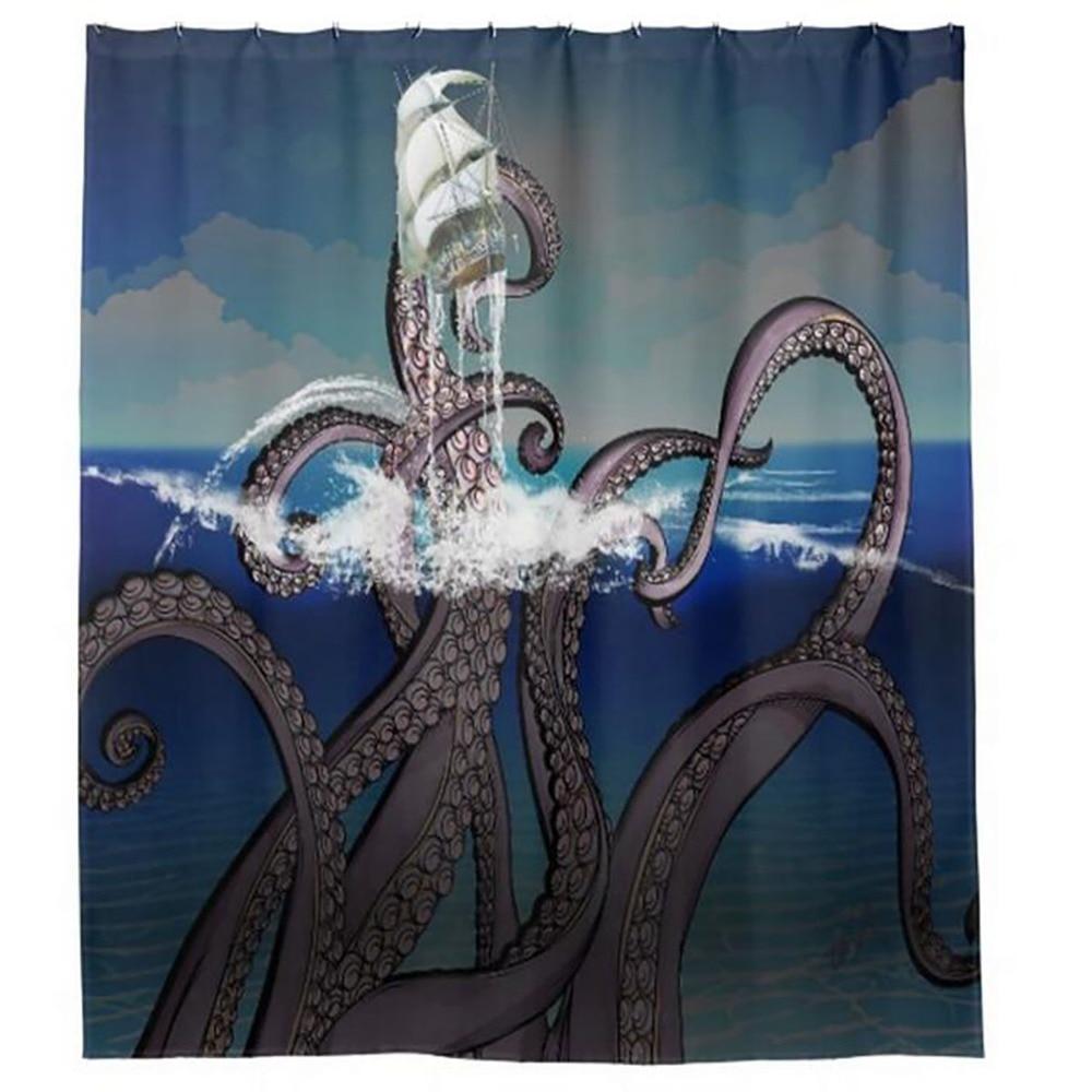 Octopus Broken Boat Shower Curtains Hooks Bathroom Curtain Waterproof  Fabric Polyester Bathing Home Decal Bath Decor