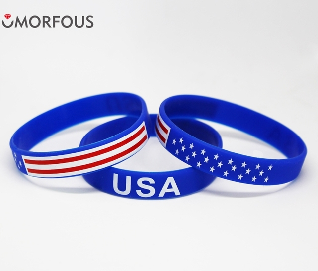 1pc Dropshipping American Flag Silicone Rubber Wristband Cuff Bracelet Independence Memorial Veterans Day Holiday Gift