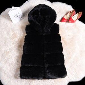 Fashion streetwear warm faux fur hoody vest coat parka 2020 winter fluffy teddy bear coat women plus size 4xl Patchwork Fur coat
