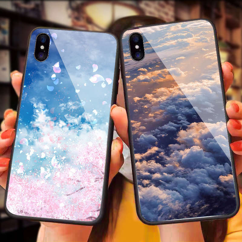 Luxury <font><b>3D</b></font> Starry sky Tempered Glass <font><b>Case</b></font> for <font><b>Oneplus</b></font> <font><b>6</b></font> 6T 5 5T 7 pro Space flower Cloud Phone Cover for One plus <font><b>6</b></font> 6T 5 5T 7 pro image