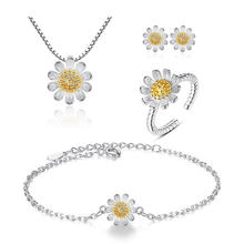 ANENJERY Sweet Sunflower Daisy Flower Necklace+Earrings+Bracelet+Ring 925 Sterling Silver Jewelry Sets For Women Gift(China)