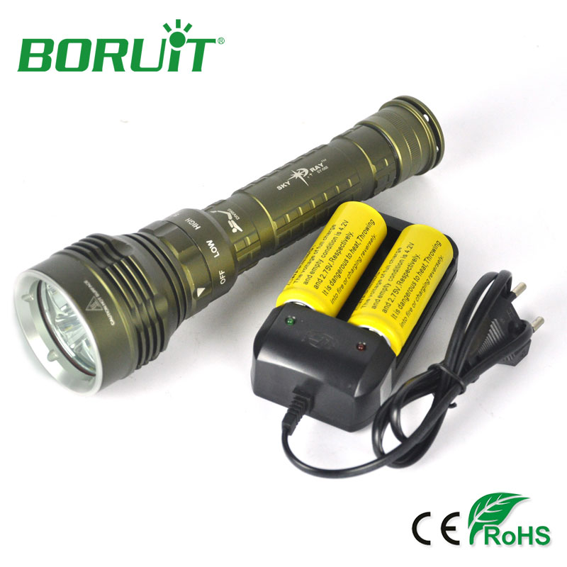 Boruit 9000LM 5 XML L2 LED Flashlight Waterproof Diving Flashlight Dive Hunting Torch Light Outdoor Camping Lamp + 26650 Charger 5x xml l2 12000lm led waterproof diving flashlight magswitch diving torch lantern led flash light 2x18650 battery charger