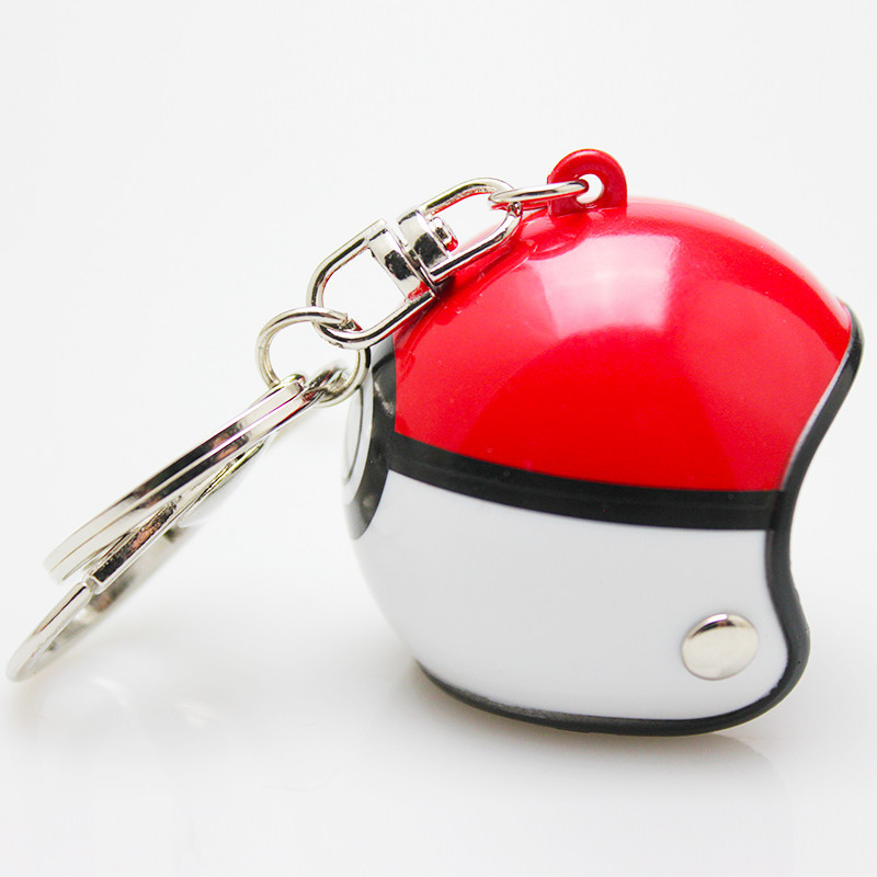 Pokemon GO Anime Motorcycle Helmet Keychain Cartoon PVC Spiderman Keyring Car Key Chain Ironman Men Hat Key Holder ...