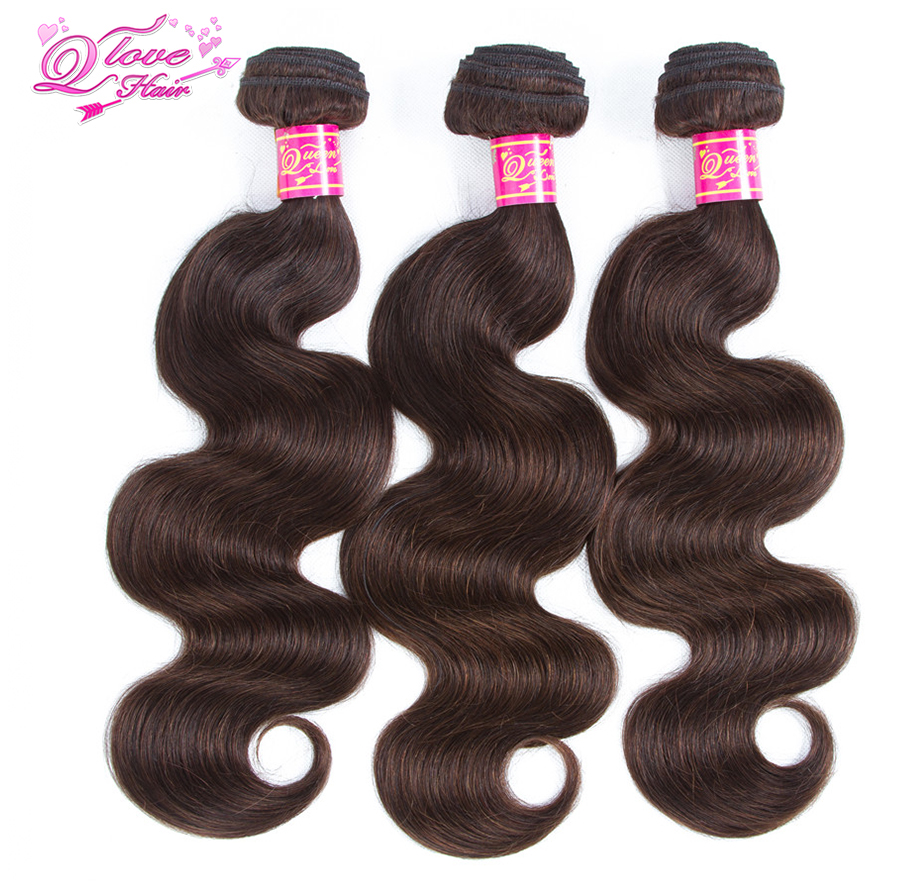 Queen Love Hair Malaysian Body Wave Dark Brown Color #2 Non-Remy Hair Bundles 3 Piece 100% Human Hair Extensions Free Shipping